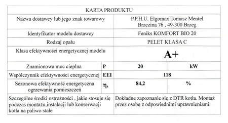 Kocioł c.o. na pellet KOMFORT BIO 20 kW